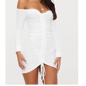 PrettyLittleThing White Ribbed Ruched Bodycon
